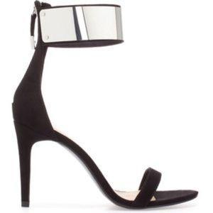 Zara Black Heels Metal Ankle Strap 3801/301 sz 37